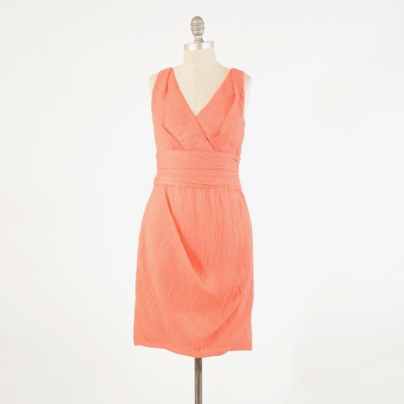 Yoana Baraschi Dresses & Skirts - Yoana Baraschi Coral Pink V-Neck Sheath Dress